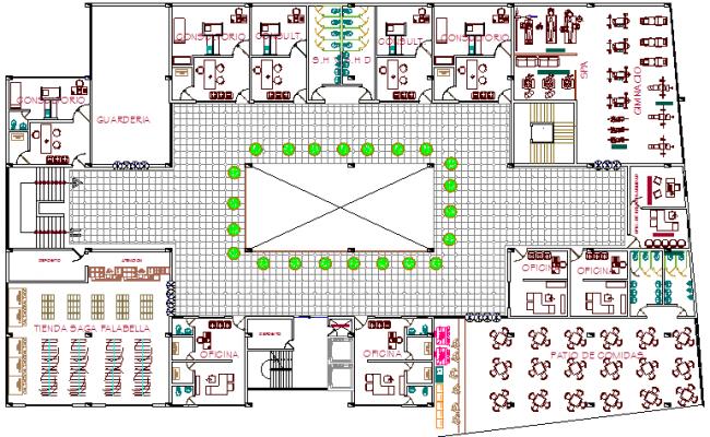 First floor layout plan details of multi-flooring hotel dwg file