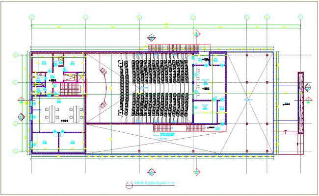First floor plan design view of auditorium design dwg file