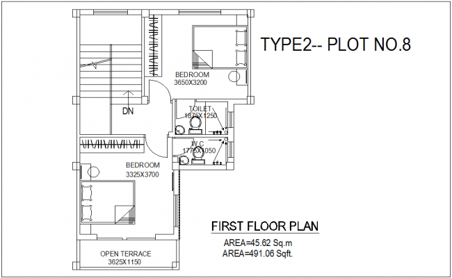 First Floor Plan Of Bungalows Type 2 Plot No 8 With Architecture