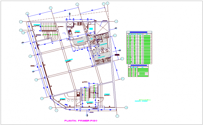 First floor plan of commercial building architectural view dwg file