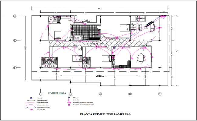 First floor plan of electrical view with lamp for housing dwg file