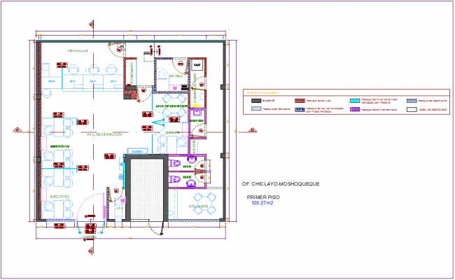 First floor plan of office area with architectural view dwg file