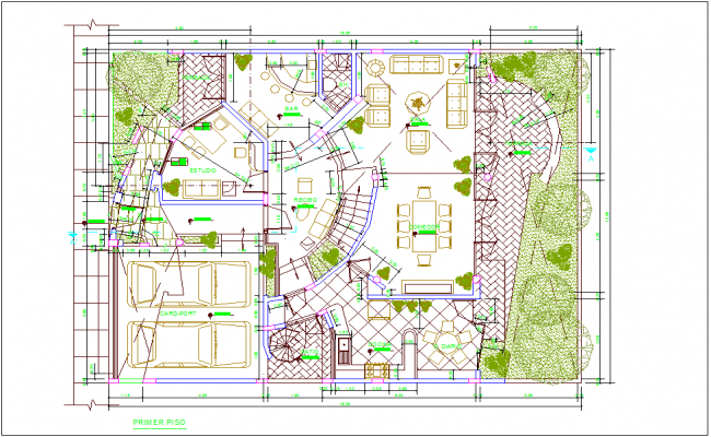 First floor plan of residential area dwg file