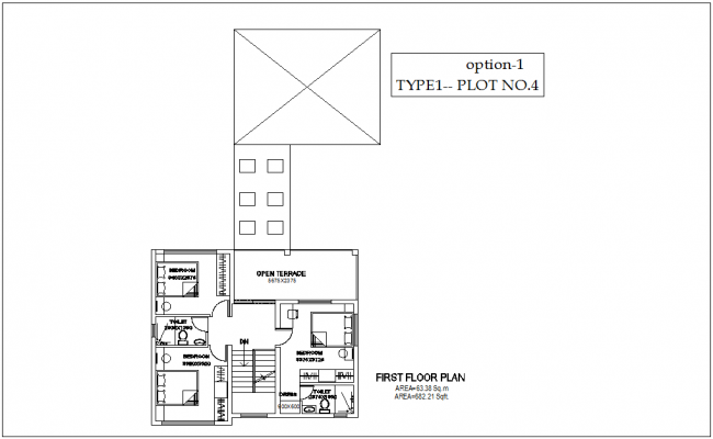 First floor plan of type 1 plot no.4 of bungalows with architecture view dwg file