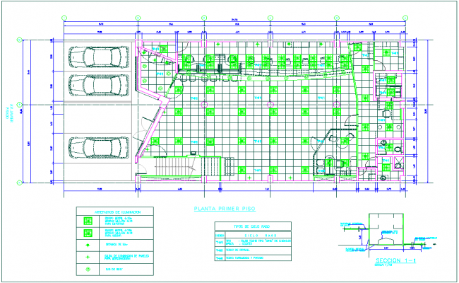 First floor plan with detail of construction view of banking agency dwg file