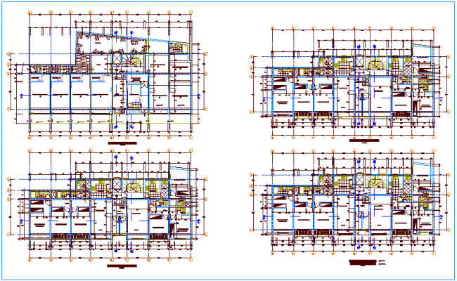 First to fifth floor plan of residential building dwg file