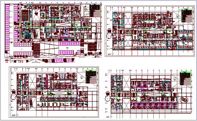 First to fourth floor plan of hospital dwg file