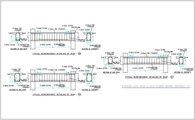 First to third floor elevation and section view for office dwg file