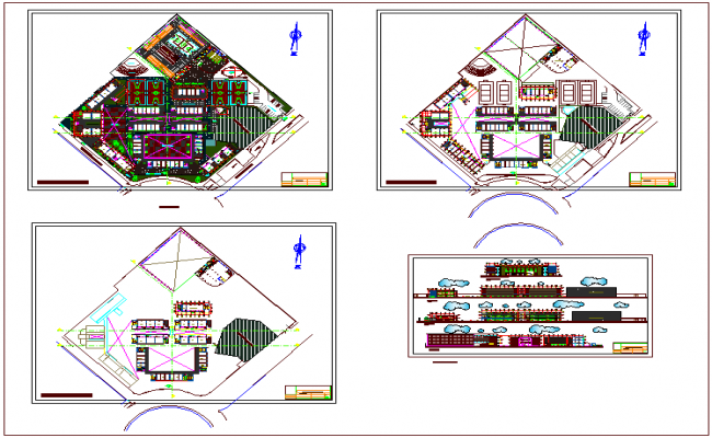 First to third floor plan view of collage with elevation view dwg file