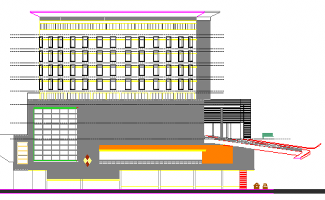 Five Star Hotel Architecture Project Elevation Plan dwg file