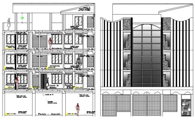 Resort Elevation Plan : Five star hotel project elevation plan dwg file