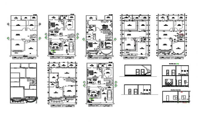 Five flooring house section and floor plan details dwg file