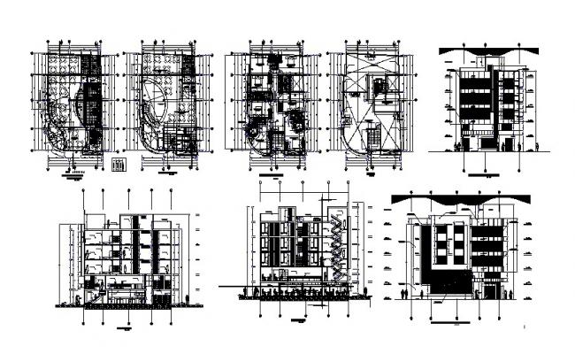 Five flooring luxuries hotel detailed architecture project dwg file