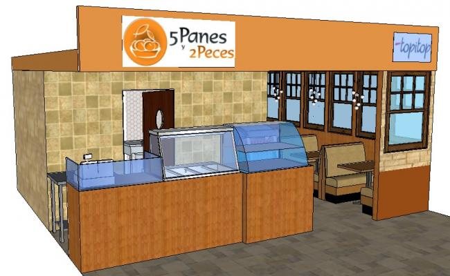 Five panes 3d cafeteria shop model cad drawing details skp file