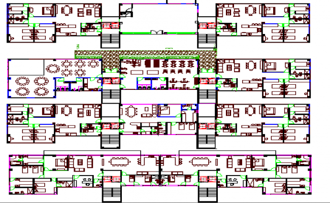 Five star hotel architecture floor plan details dwg file