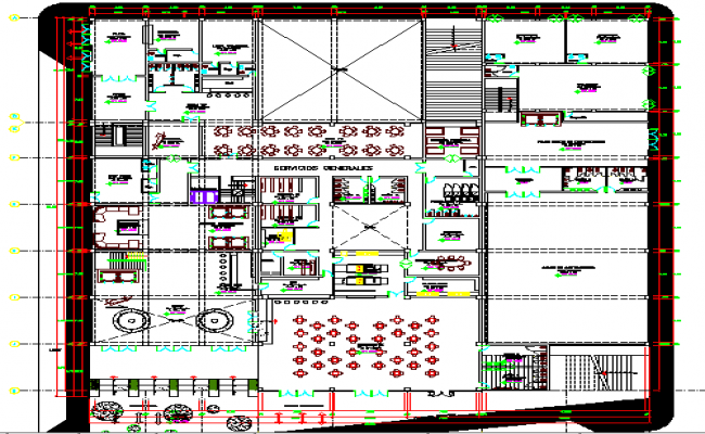 Five star hotel architecture layout plan details dwg file
