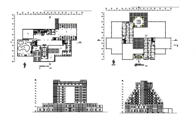 Five star multi-flooring hotel elevation, section and floor plan cad drawing details dwg file
