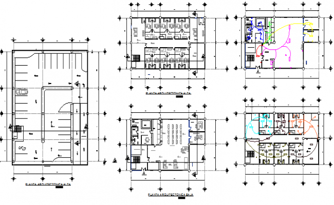 Five story bank office building floor plan details dwg file