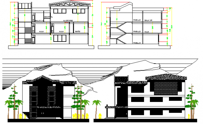 Section Elevation Plan View : Five story school building elevation and section plan dwg file