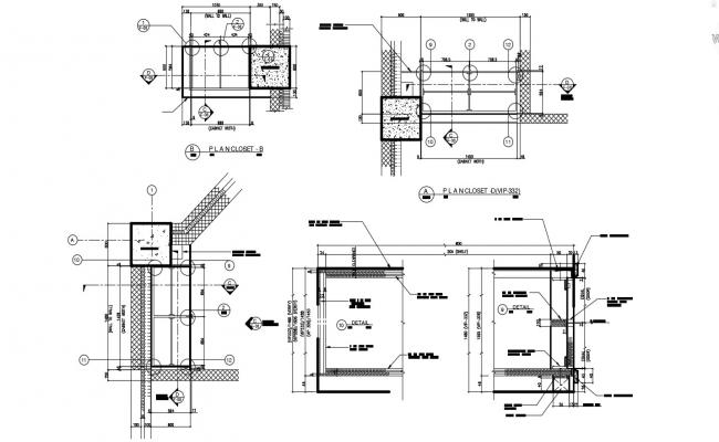 Fixed Closet Design Section CAD Drawing Download