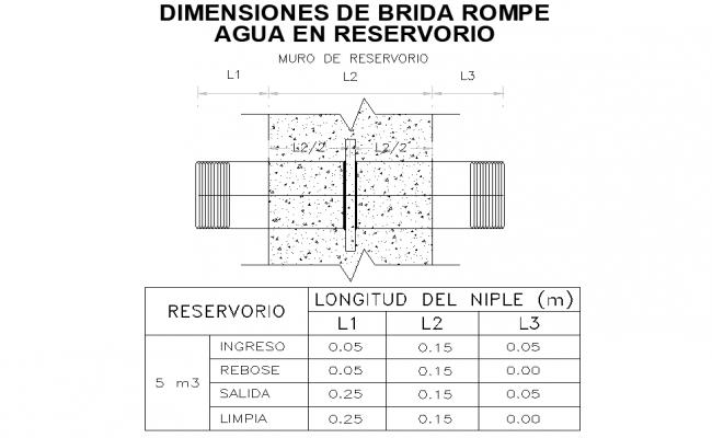 Flange dimension breaks water in reservoir autocad file