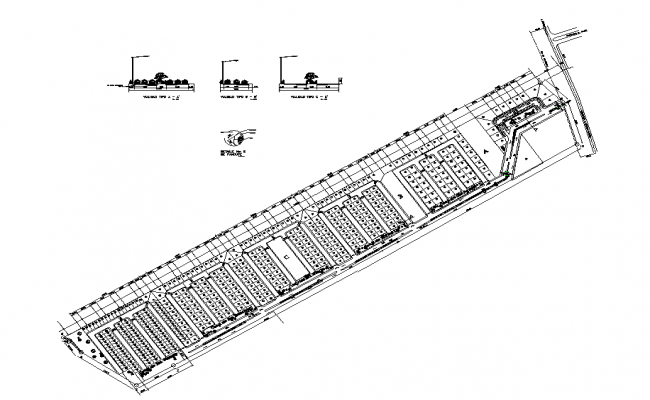 Flat housing detail elevation and section layout dwg file