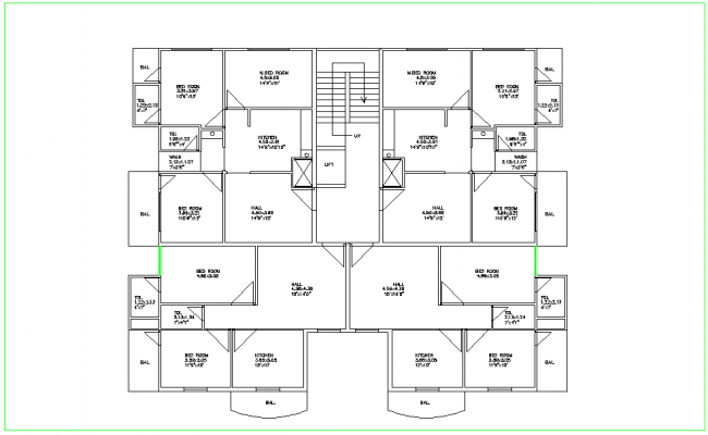 Flat plan design view dwg file