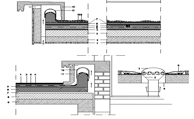 Flat roof construction details of building dwg file