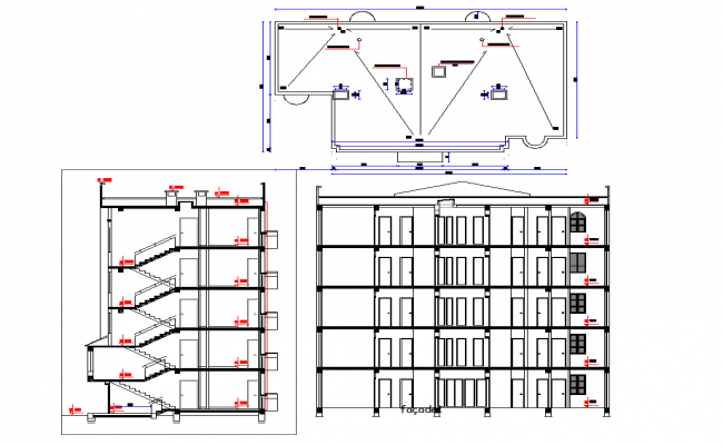 Flat section and elevtion  detail dwg file