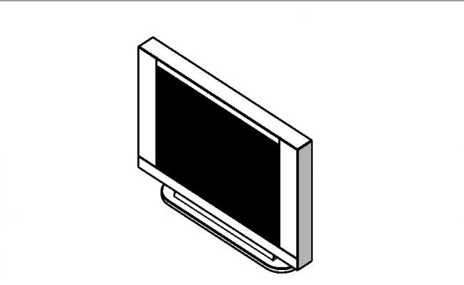Flat television 3d block cad drawing details dwg file