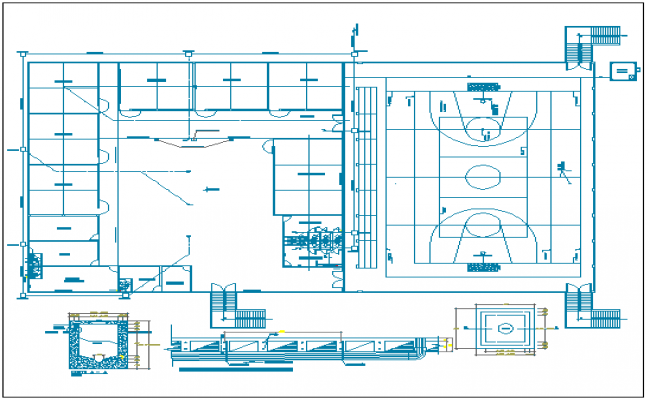 Flood zone college sports ground and plan details dwg file