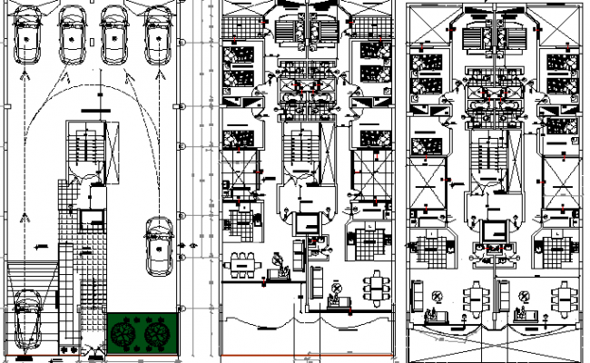 floor plan of multi family residential building dwg file