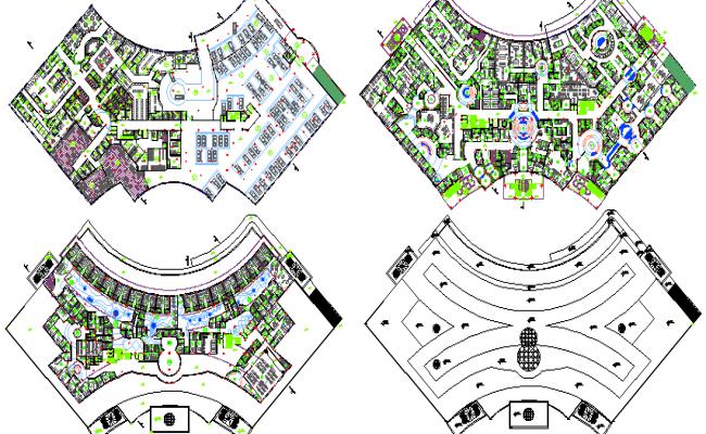 Floor Plan of Multi-Flooring Hospital dwg file