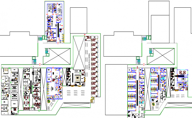 Floor Plan of Multi-Flooring Private Hospital Project dwg file