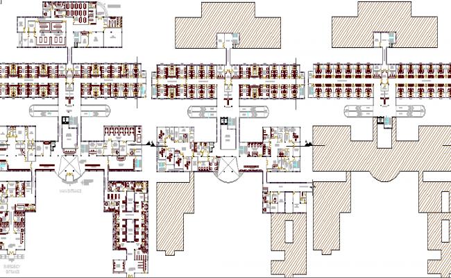Floor Plan of Multi-Specialty Hospital Design dwg file