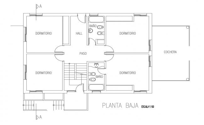 Floor Plan of a residential house in dwg file