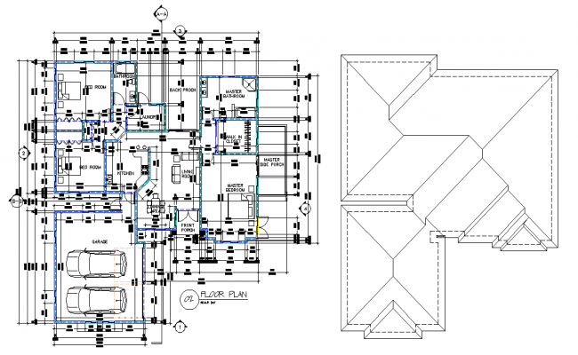 Floor and roof plan dwg file