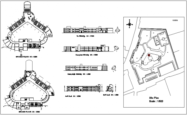 Floor and site plan view with elevation view of fine art school dwg file