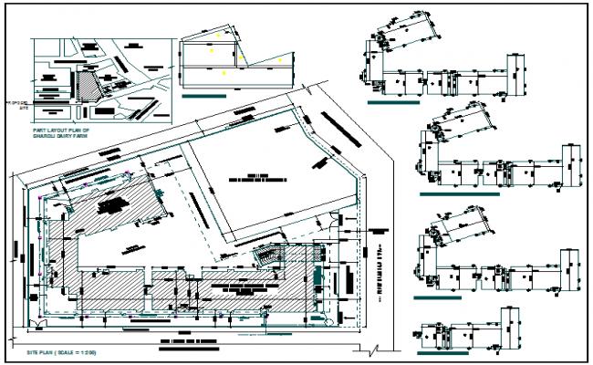 Floor area diagram with site plan of school dwg file