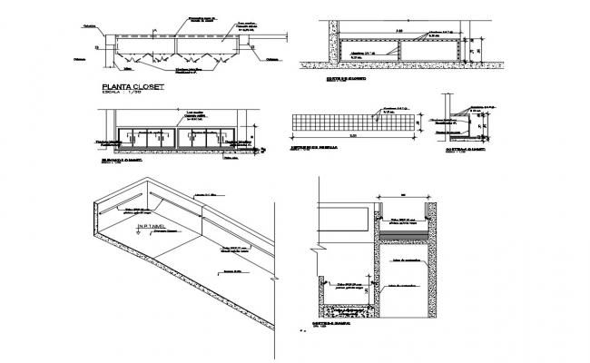 Floor closet, mesh distribution and structure details of office building dwg file