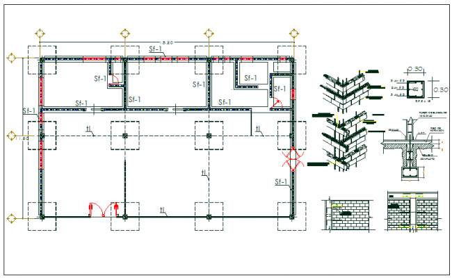 Floor column foundation plan layout detail view dwg file for Foundation plan drawing