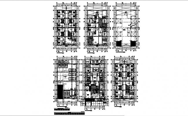 Floor distribution plan, cover plan and auto-cad details of house building dwg file