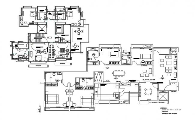 Floor distribution plan details of corporate office building dwg file