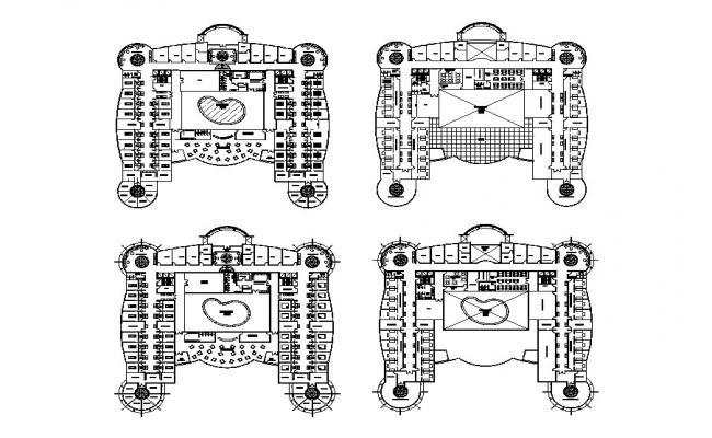 Floor distribution plan details of multi-flooring hospital dwg file