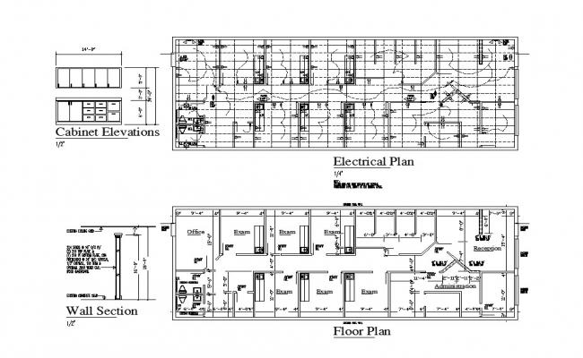 Floor plan, electrical plan, wall section and cabinet elevation details of school dwg file