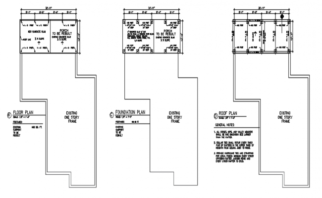 Floor plan, foundation plan and roof plan detail dwg file