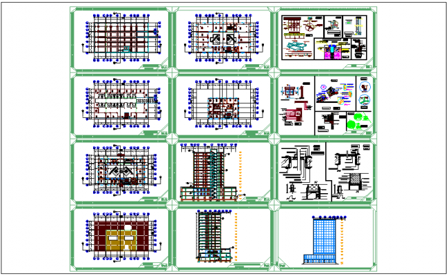 Floor plan,elevation,section view,door,window and structural detail of office building dwg file