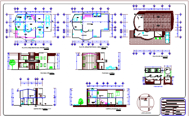 Floor plan,elevation and section view for office of common property dwg file