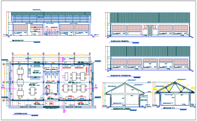 Floor plan,elevation and section view of school dwg file