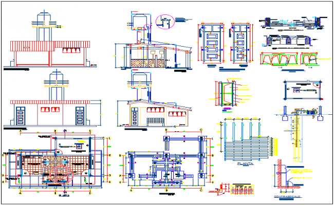 Floor plan,elevation and section view with door and window detail of collage dwg file